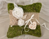 Moss Rustic Wedding Pillow, Burlap Ring Bearer Pillow, Burlap Ring Pillow, Moss Ring Pillow, shabby chic Ring berarer,