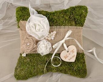 Moss Rustic Wedding Pillow, Burlap  Ring Bearer Pillow, Burlap Ring Pillow, Moss Ring Pillow, shabby chic Ring berarer,