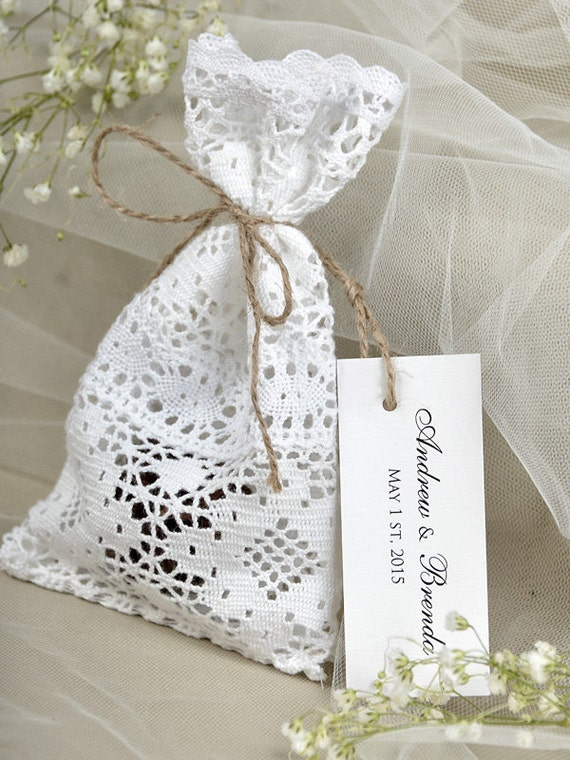 ... Bag, Lace Rustic Wedding Favor, Lace and twine Favor Bags, Custom Tag