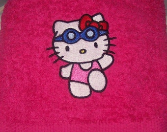 Personalised embroidered Hello Kitty in her swimming costume swimming/ bath towel (100% cotton)