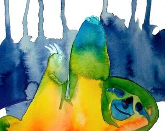 Rainbow Sloth Print, Original Art, Liquid Acrylic