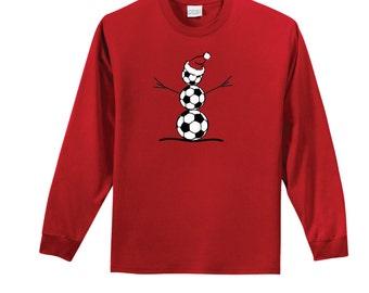 Soccer Snowman long-sleeve cotton T-shirt