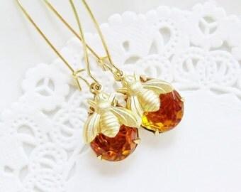 Honey Bee Earrings, Honey Bee Jewelry, Topaz Glass Dangle Earrings, Gold Honey Bees, Vintage Teardrop Rhinestones, Gift for Her