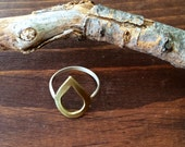"Brass and Sterling Silver ""Fire"" Ring"