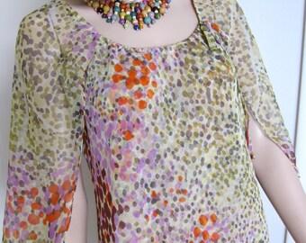 70s Midi Dress Morty Sussman for Mollie Parnis Boutique - Impressionist Confetti Dot Sheer Print Designer Vintage 1970s Chiffon Dress