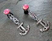 Dangle Plugs - 00g 10mm - Pink Anchor Plugs - Byzantine Weave - Chainmaille Jewelry