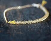 Citrine Bracelet, Beaded Bracelet, Gold Gemstone Bracelet, November Birthstone, 14k Gold Filled Chain, Delicate Bracelet, Layering Jewelry