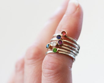 Custom Gemstone Stacking Ring, Gemstone Solitaire Ring, Sterling Silver Ring, 14k Gold Accent, Customized Ring, Personalized Ring