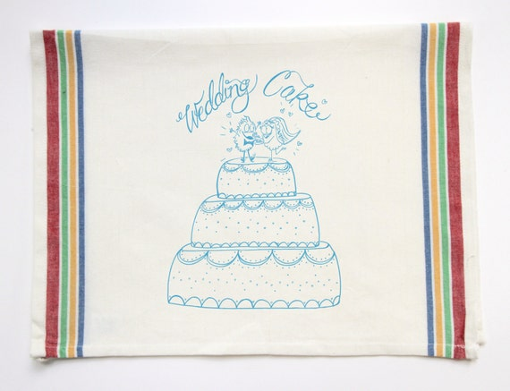 Wedding Gift Tea Towels : Wedding Cake dish towel Love Gift Tea Towel bridal shower kitchen ...