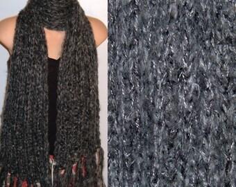 Hand Knit Scarf Acrylic Fringed handmade chunky Rib Carcoal Gray