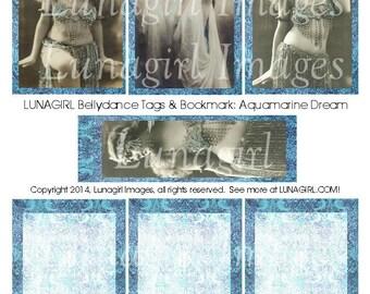 Vintage BELLYDANCE TAGS digital collage sheet DOWNLOAD Blue French postcards antique carte ephemera bookmark printable altered art images
