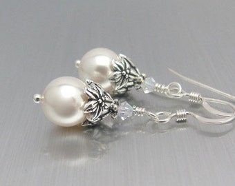 White Pearl Earrings, Sterling Silver, Wedding Earrings, Swarovski Crystal White Pearls, Bridesmaid Earrings, Wedding Jewelry, Mother Bride
