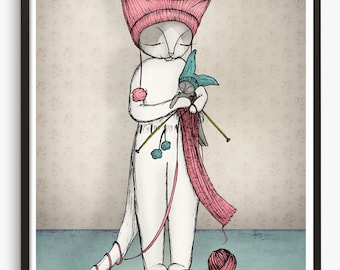 Cat Art Print  - cat knitting illustration - A4 Fine Art Print cute cat art knitting knitted - bunny rabbit