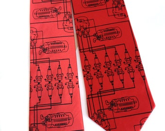 Spark Plug necktie. Car guy men's tie. Detroit automotive history. Your choice of colors and width. Silkscreened tie.