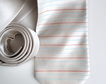Elementary Handwriting Paper necktie. School penmanship writing paper tie, lined & dashed . Perfect teacher gift.