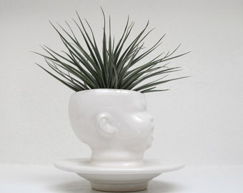 Modern White Baby Head Vase / Planter by Mudpuppy - Fat Neck Version