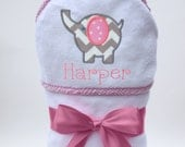 Personalized Hooded Towel Chevron Baby Elephant  for Baby Girl or Toddler Girl