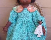 """OOAK 22"""" Oil Painted Black Cloth ART doll with wood doll"""