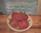Primitive Strawberries -  MEDIUM Strawberries - Hand Painted - Red Strawberries - Made in the USA