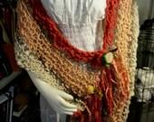 Boho Fairy Gypsy Hippie Hand Spun, Hand Knit Art Yarn Shawl or Scarf in Cream, Peach & Papaya with Needle Felted Roses, Sari Silk Ribbons