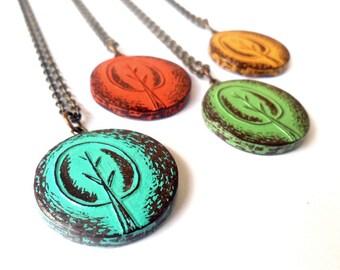 Retro Tree Necklace, Rustic Tree Pendant, Orange, Turquoise,Yellow or Green Tree Jewelry, Birthday Gift, Casual Jewelry, Tree Hugger Gift
