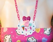 Kawaii Pink n Blue Teddy Sweets Plate Necklace