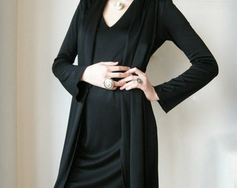 Black rayon shawl dress