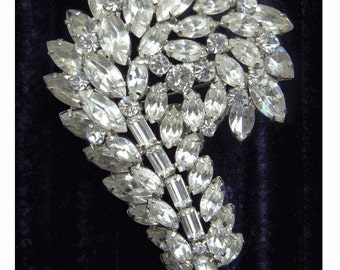 On Sale - Massive Fancy Cut Mid Century  DESIGNER Rhinestone Brooch - Paisley Shape - Only on ETSY