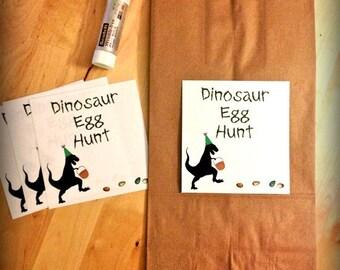 PDF: Dinosaur Egg Hunt Labels - Digital File DIY Printable - Fits Standard Paper Lunch Bag