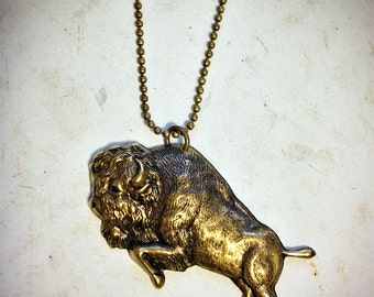 Charging Buffalo Bison Necklace, antiqued brass stamping, petite ball chain, Nickel Queen City, Western NY, Lake Erie Ontario, Niagara River