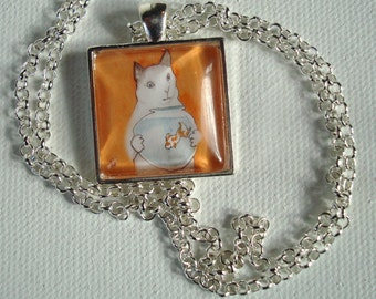 Cat with a Fishbowl  - Handmade Square Pendant