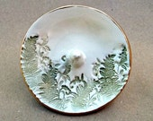 Ceramic  Ring Holder Bowl Ferns