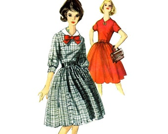 1960s Womens Full Skirt Dress Simplicity 5546 Vintage Sewing Pattern Misses V-Neckline Dress with Detachable Collar Size 16 Bust 36