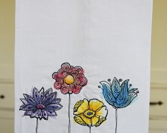 Hemstitched Tea Towel in Painted Flowers