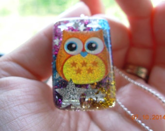 Rainbow Glittertastic Owl Resin Necklace