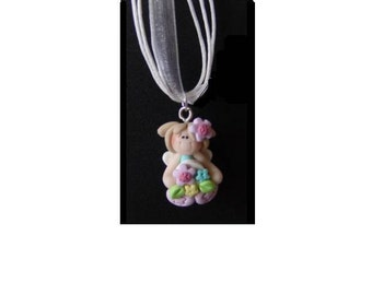 Your Choice Sitting Fairy Necklace, Polymer Clay, Fairy Color Choice, Ribbon Color Choice, Fairy Princess Necklace