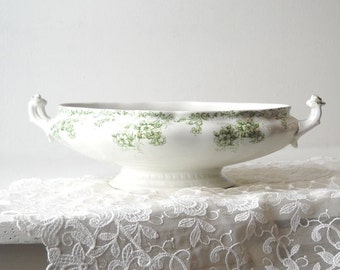 Antique Weatherby Semi Porcelain Vegetable Bowl, Trentham Green Transfer Ware,  Hanley England