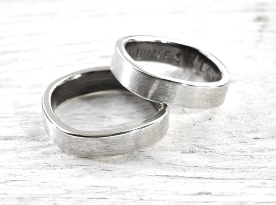 Modern Square Recycled Sterling Silver Band with Custom Inscription