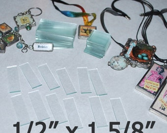 30 pack of skinny STIX  1/2 x 1-5/8 Inch Rectangles - Clear Pendant Glass for Collage Altered Art Soldered Jewelry.