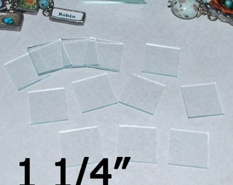 10 Pack of 1-1/4 (1.25) Inch Squares - Clear Pendant Glass for Collage Altered Art Soldered Jewelry.