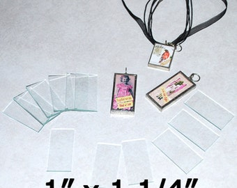 100 Pack of 1 x 1.25 Inch Rectangles  (( 1 x 1-1/4 )) - Clear Pendant Glass for Solder Art Memory Collage Altered pieces