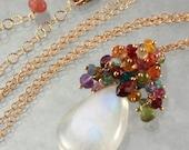 Rainbow Moonstone Multi Stone Tassel pendant Statement Necklace