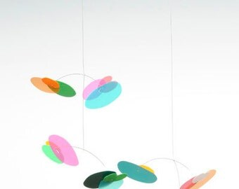 Blossom Baby Modern hanging mobile- Rainbow by Pukapuka