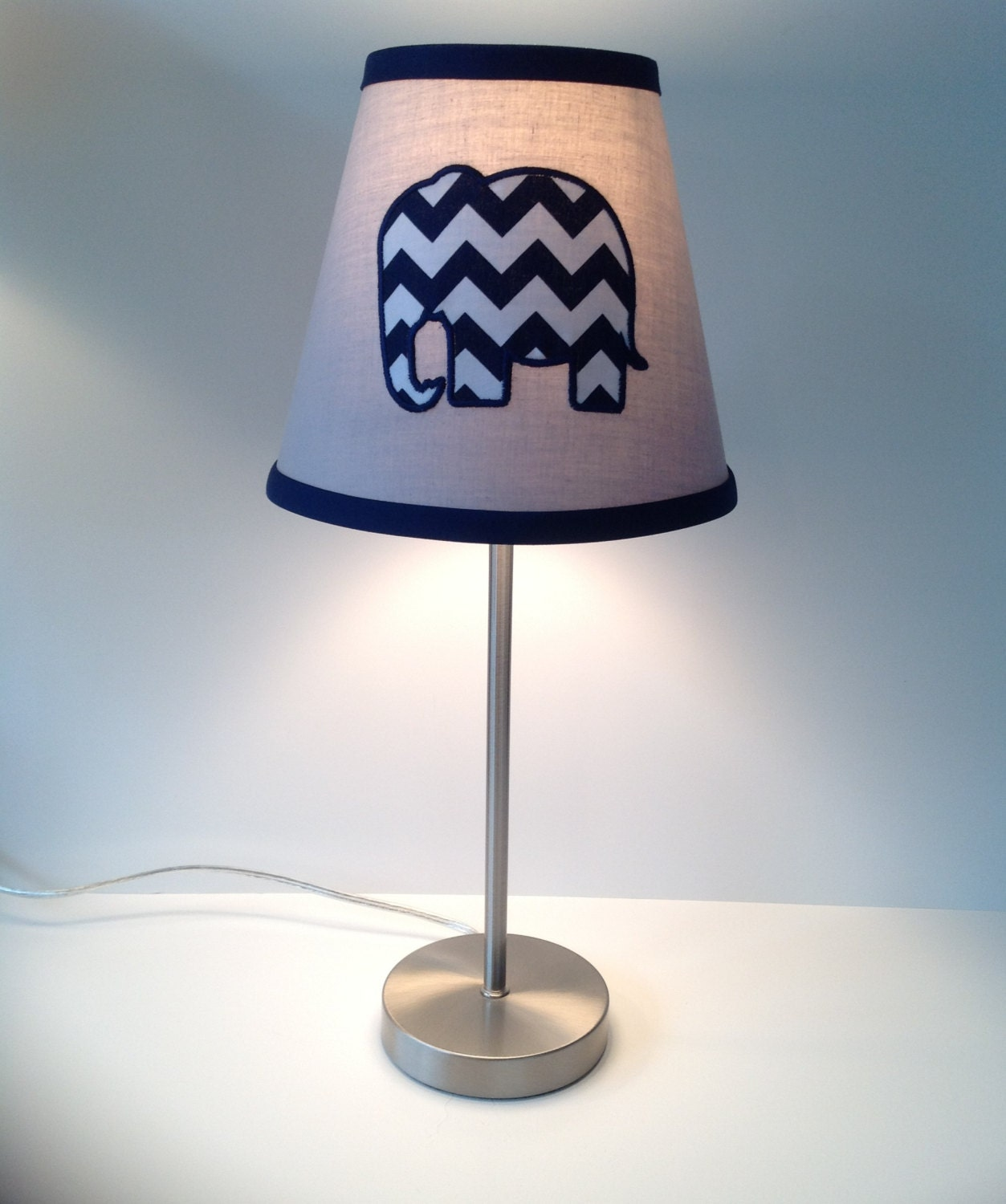 applique elephant nursery lamp shade gray navy blue chevron. Black Bedroom Furniture Sets. Home Design Ideas