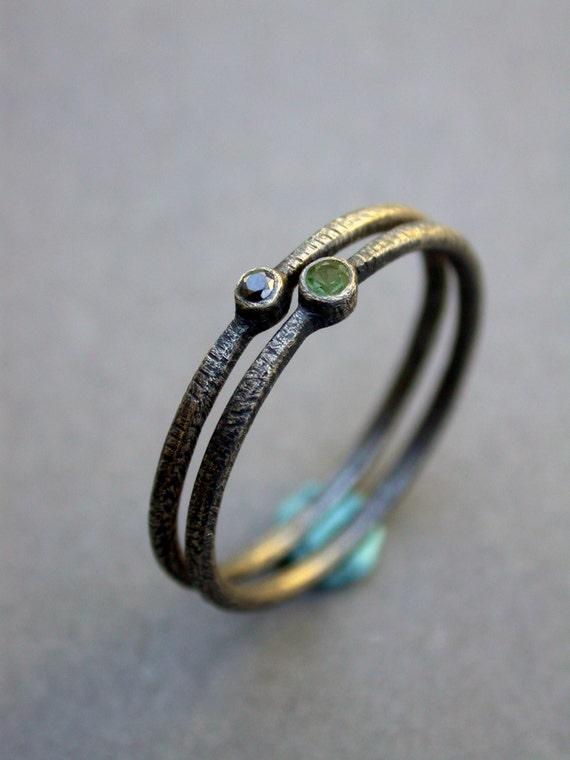Green Tourmaline Black Diamond Wedding Ring Engagement Ring