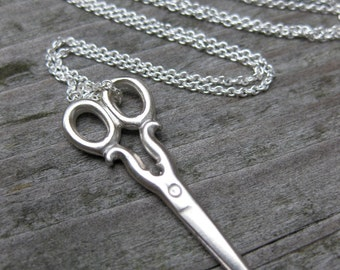 tiny SCISSORS charm necklace solid sterling silver