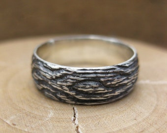 Mens rugged wood woodgrain ring OAK sterling silver sz 7 sz 8