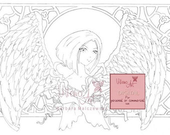 Digital stamp - Villemoart -  BLUE ANGEL - Printable Coloring Page Fantasy Angel Art