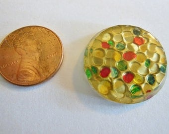 Vintage harlequin stone (1) glass reverse carved reverse painted textured round beveled colorful 22mm (1)