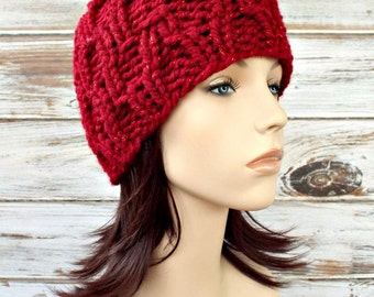 Knit Hat Red Womens Hat - Amsterdam Beanie in Poinsettia Metallic Cranberry Red Knit Hat - Red Hat Red Beanie Womens Accessories Winter Hat